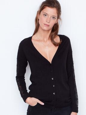 Lace cardigan black.