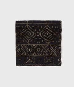 Foulard imprimé en soie noir.