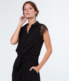 Laced sleeves shirt black.