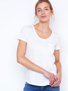 T-shirt col rond en coton blanc.