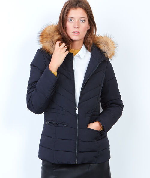 Padded jacket with faux fur hood