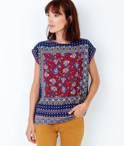 T-shirt manches courtes, imprimé foulard prune.