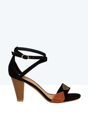 Sandales en suédine, détails géométriques noir.