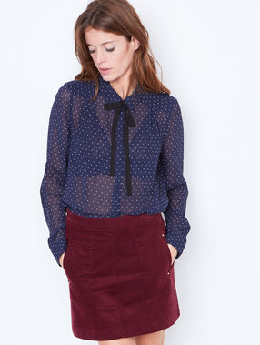 Dottty shirt with tie neck detail navy.