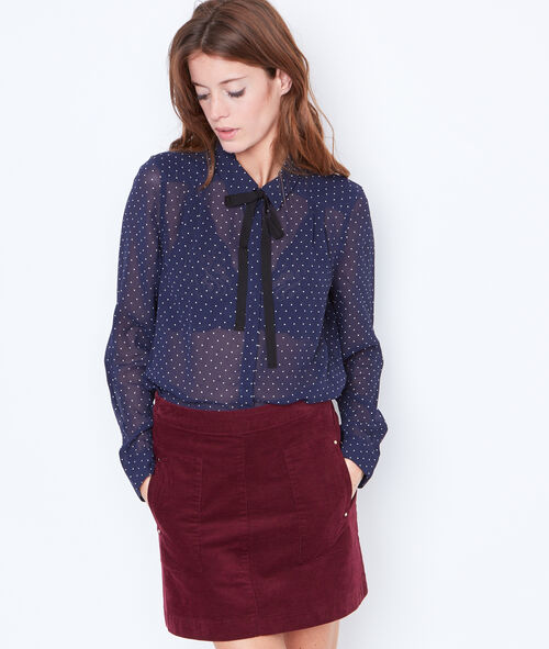 Dottty shirt with tie neck detail