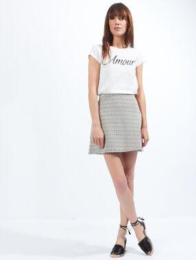 T-shirt imprimé amour, détails dentelle dos blanc cassé.