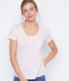 T-shirt col rond en coton nude.