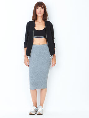 Knitted pencil skirt heather grey.