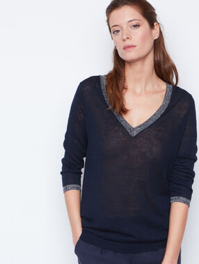 Linen sweater navy.