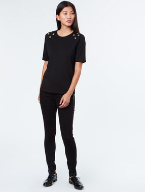 Slim pants with strass black.