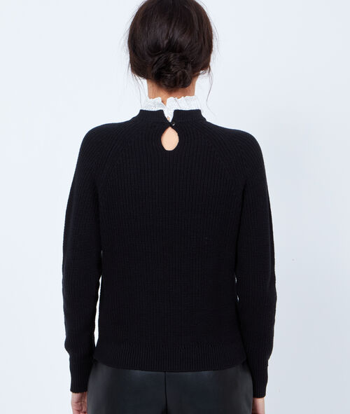 2 in 1 knit sweater with lace collar