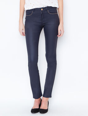 Coated slim pants navy.