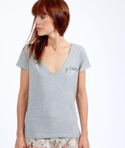 T-shirt uni, détail imprimé je t'aime