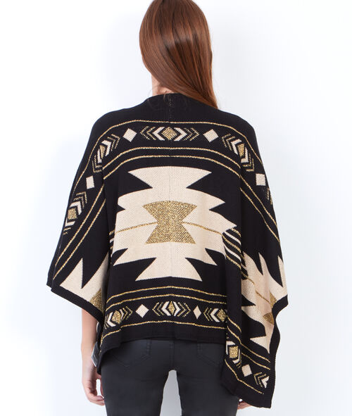 Knitted gold print poncho