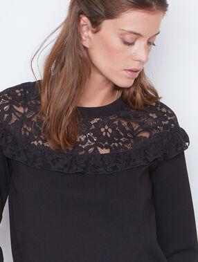 Lace sweatshirt black.