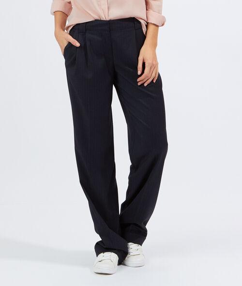 Pantalon large fines rayures