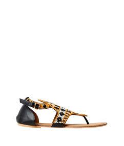 Sandales plates brodées avec des perles noir/blanc/orange.