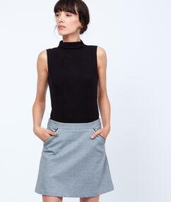 Jupe trapèze bicolore à poches noir.