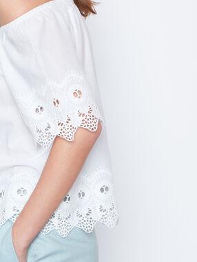 Top épaules dénudées détail dentelle blanc.