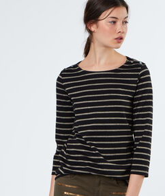 Stripped cotton sweater black.