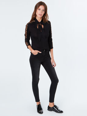 Top with lace sleeves black.