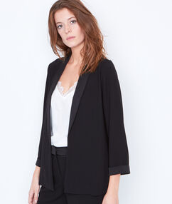 Tailored collar blazer black.