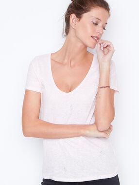 T-shirt manches courtes imprimé nude.