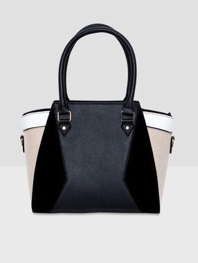 Tricolor medium size bag black.
