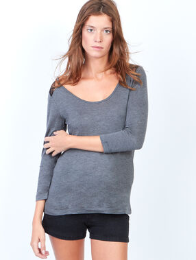 Scoop back top with lace inserts anthracite grey.