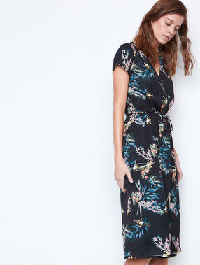 Printed long dress black.