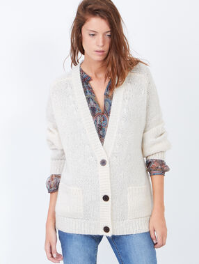 Knitted v-neck cardigan white.
