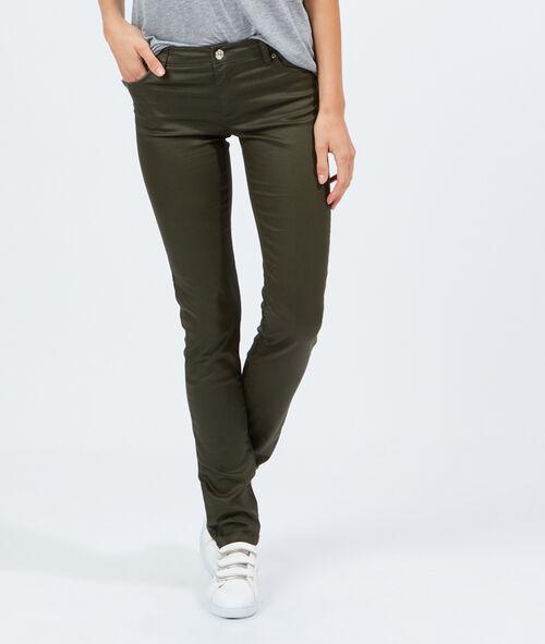 Pantalon slim enduit