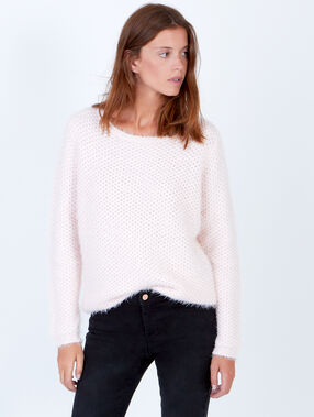 Fluffy knit jumper with round collar light pink.