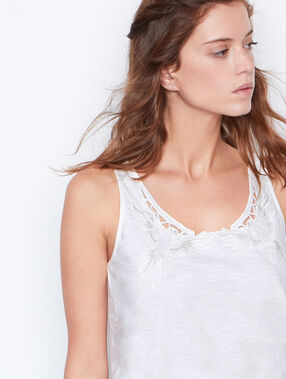 Embroidered tank-top white.