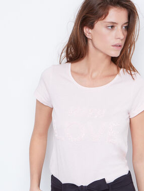 Sequins short sleeve nude.