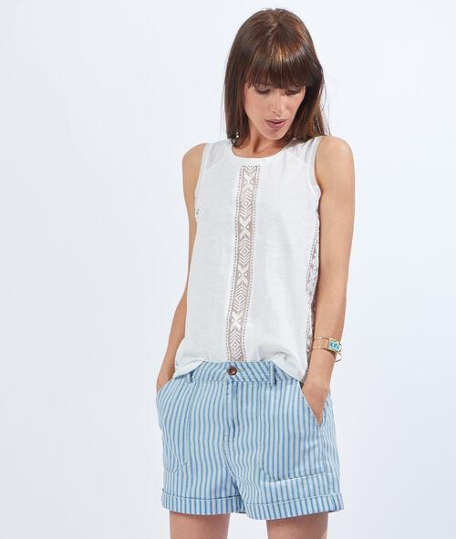 Short en jean large poches à rayures