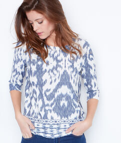 3/4 sleeve printed top navy.