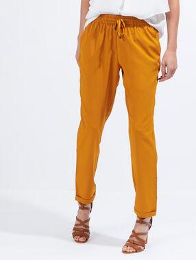 Pantalon fluide style jogging curry.