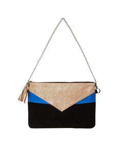 Pochette tricolore en cuir noir / bleu royal / argent.