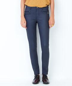 Pantalon slim enduit bleu marine enduit.