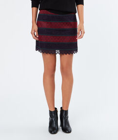 Tricolor short skirt plum.
