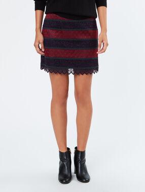 Tricolor short skirt plum.