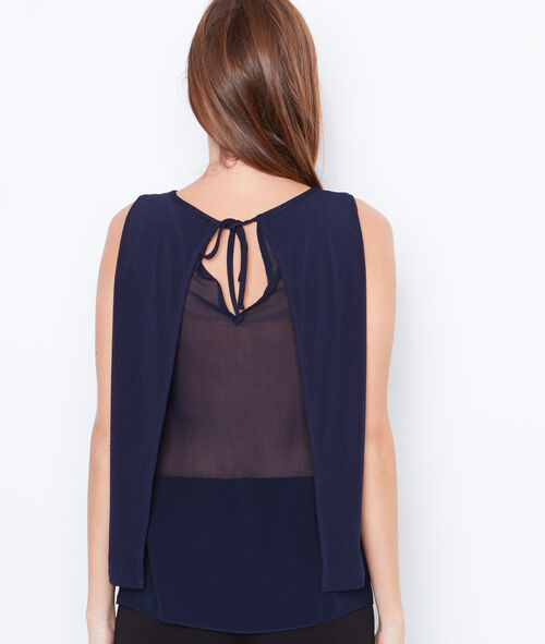 Tie neck top with lace detail