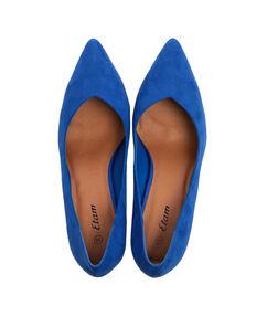 Escarpins effet daim découpe vintage bleu roi.