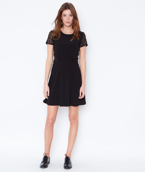 Flare dress with lace inserts