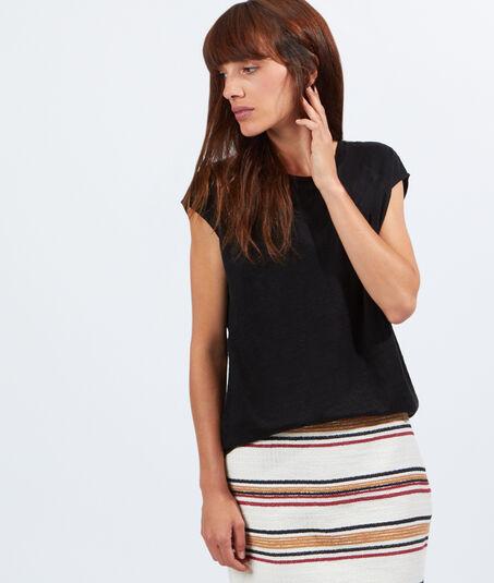 ORIGAMIT-shirt coton et lin empiècement voile
