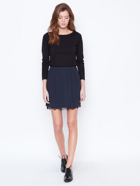 Lace detail skirt navy.
