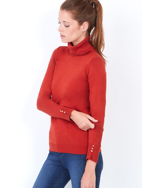 Knitted turtleneck sweater orange.