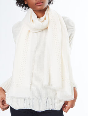 Studded scarf off-white.