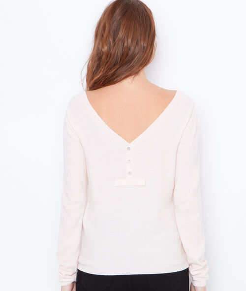 V-neck sweater with button back detail